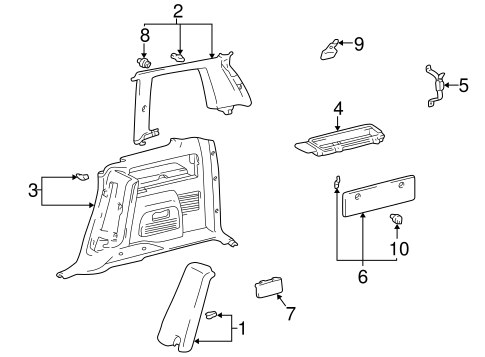 BODY/INTERIOR TRIM - QUARTER PANELS for 1996 Toyota RAV4 #2