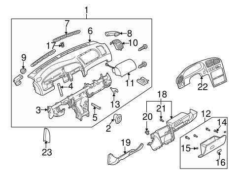 Instrument Panel Components For 2001 Kia Spectra