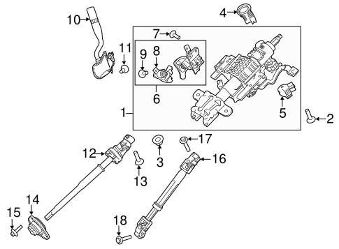 Oem 2017 Ford F 150 Steering Column Assembly Parts