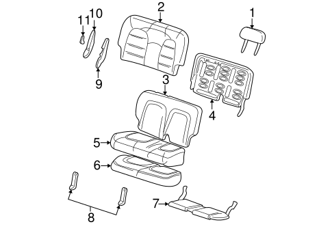 Body/Rear Seat Components for 2003 Ford Explorer #1
