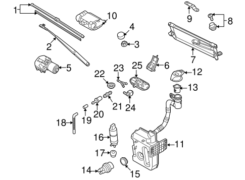 Wiper & Washer Components for 2007 Volkswagen Rabbit | QuirkParts | 2007 Volkswagen Rabbit Engine Diagram |  | QuirkParts