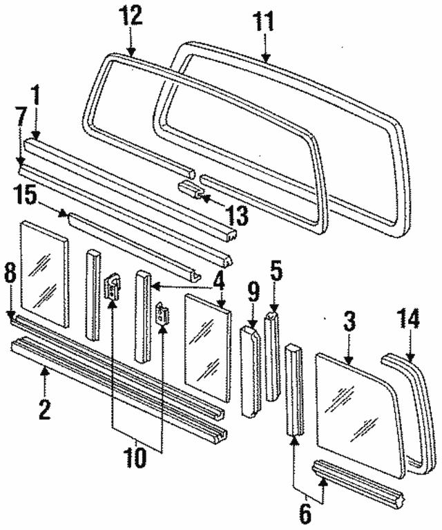 1984 1997 Ford Weatherstrip F2tz 1542084 A