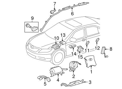 Air Bag Components for 2005 Toyota Highlander #9
