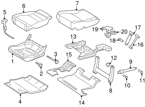 Rear Seat Components for 2003 Mercedes-Benz ML 350 #2