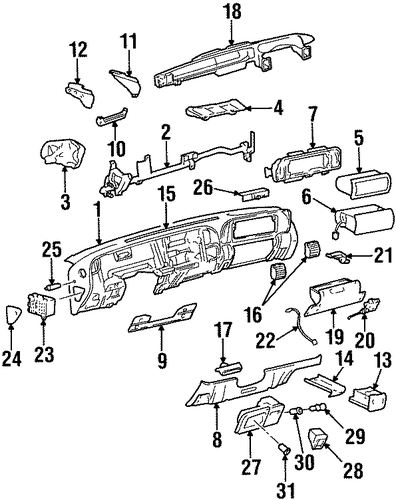 instrument panel parts for 1999 chevrolet tahoe