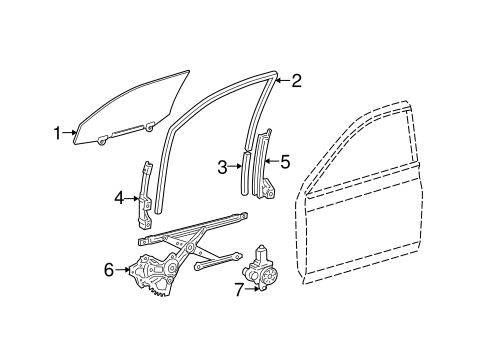BODY/GLASS - FRONT DOOR for 2007 Toyota Avalon #1