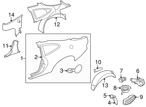 Quarter Panel Components For 2005 Jaguar Xkr