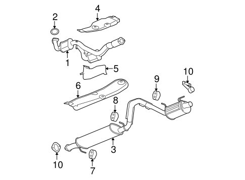 exhaust components for 2007 chevrolet trailblazer ... 2004 subaru legacy exhaust diagram trailblazer exhaust diagram #4
