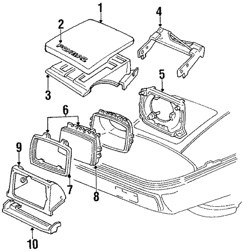 headlamp components for 1988 pontiac fiero. Black Bedroom Furniture Sets. Home Design Ideas