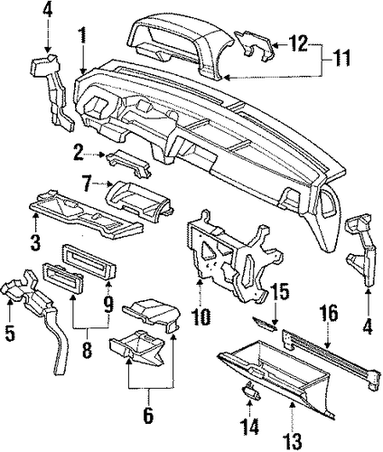 Striker Assembly, Glove Box