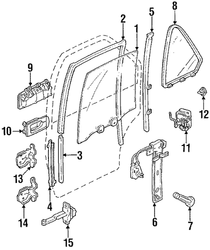 Sash, L Rear Door Center (Lower)