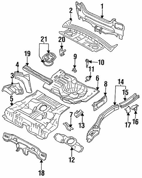 Oem 1997 Nissan Altima Rear Floor Rails Parts