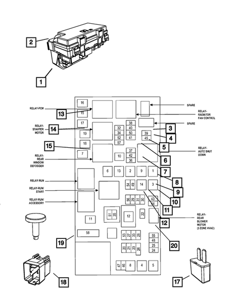 power distribution center, fuse block, junction block, relays and ...  thomas dodge parts