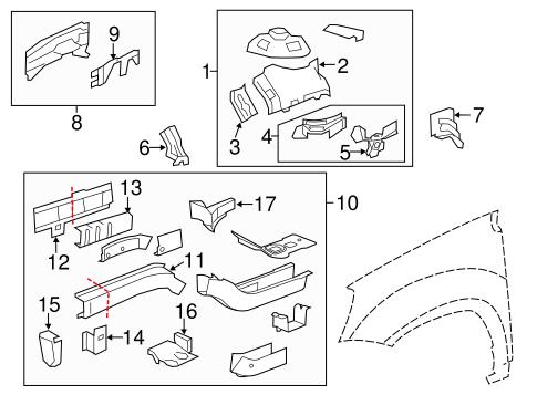 oem 2012 chevrolet traverse structural components rails. Black Bedroom Furniture Sets. Home Design Ideas