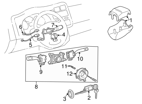 STEERING/SHROUD, SWITCHES & LEVERS for 1996 Toyota RAV4 #2