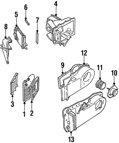 cadillac 2002 r replacement evaporator core