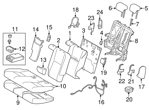 Rear Seat Components For 2017 Lexus Nx200t