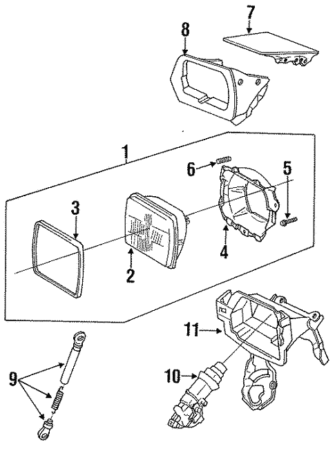 headlamp components for 1991 toyota mr2