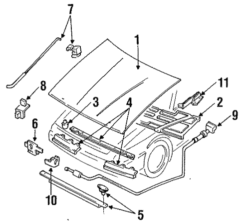 Hood Components For 1996 Ford Escort