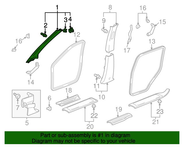 84101-SJC-A01ZA Pillar Garnish Assembly Genuine Honda