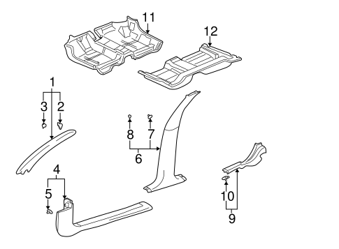 Oem 2001 Buick Lesabre Interior Trim Pillars Parts
