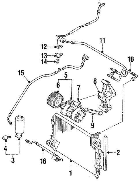 Condenser Compressor Lines For 1998 Volkswagen Jetta