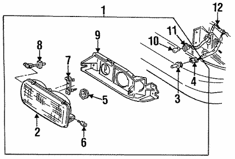 Headlamp Components for 1996 Buick Commercial Chassis #0