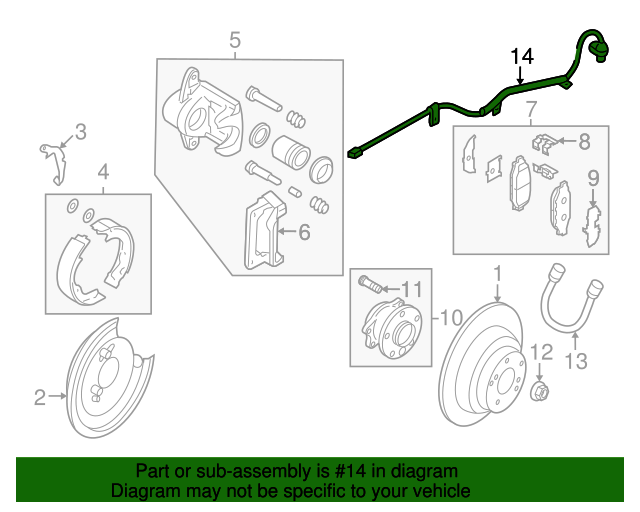 27540XA02A Rear Car Engine ABS Wheel Speed Sensor for 2008-2014 Subaru Tribeca