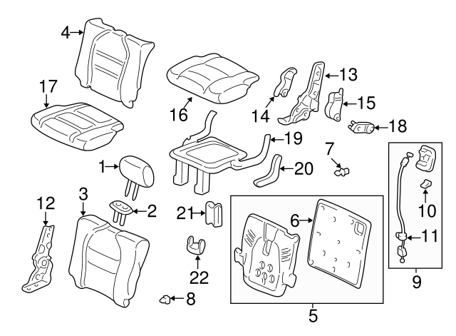 Seat Bracket Cover 81777-S9V-A01ZA Honda Genuine