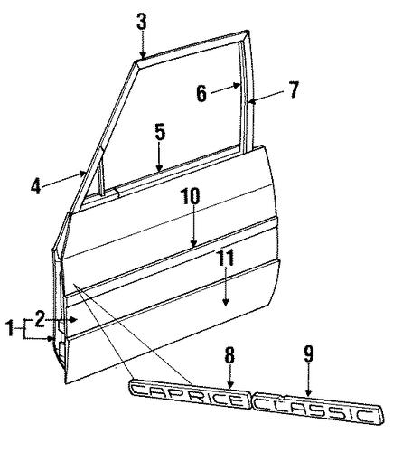 OEM 1993 Chevrolet Caprice Door & Components Parts