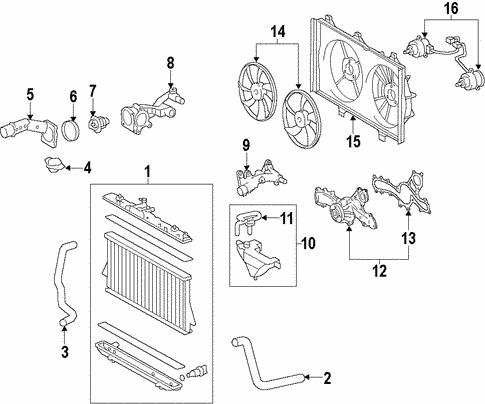 cooling system/radiator & components for 2013 toyota highlander #1