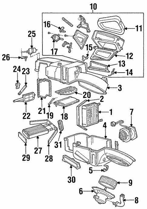 Evaporator Heater Components For 1997 Ford Taurus