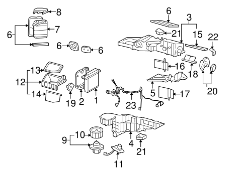 Gm Evaporator Case 89018301 together with Chevy Aveo Engine further Gmc Yukon Engine Diagram additionally 2001 Chevrolet Tahoe Stereo Wiring Diagram moreover Chevy S10 2 2l Engine Diagram. on 2003 gmc yukon cooling system diagram