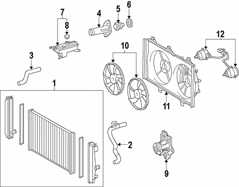 Genuine OEM Radiator & Components Parts for 2009 Toyota ...