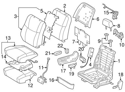 Passenger Seat Components For 2011 Toyota Avalon
