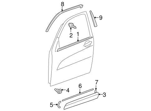 Exterior Trim - Front Door for 2004 Toyota RAV4 #0