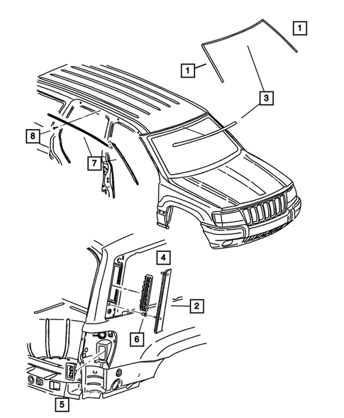 Moldings and Ornamentation for 2004 Jeep Grand Cherokee #1