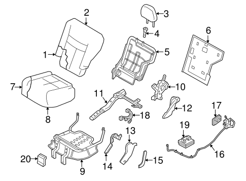 Rear Seat Components for 2020 Nissan Murano #1