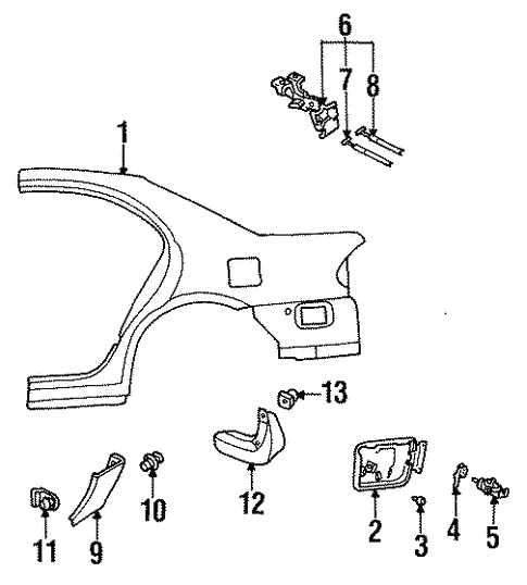 Quarter Panel & Components for 1997 Mazda Protege #0