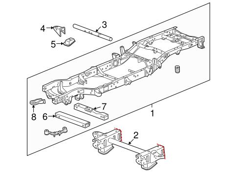 [SCHEMATICS_48IS]  Frame & Components for 2008 GMC Sierra 1500 | GMPartOnline | 2008 Gmc Sierra Engine Diagram |  | GM Parts Online