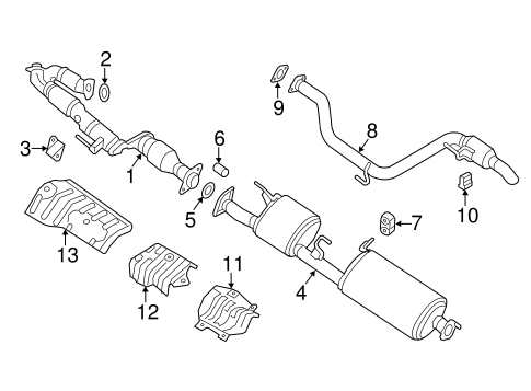 Exhaust Components for 2014 Nissan Pathfinder   QuirkParts