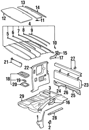 BODY/INTERIOR TRIM - CAB for 1996 Toyota T100 #1