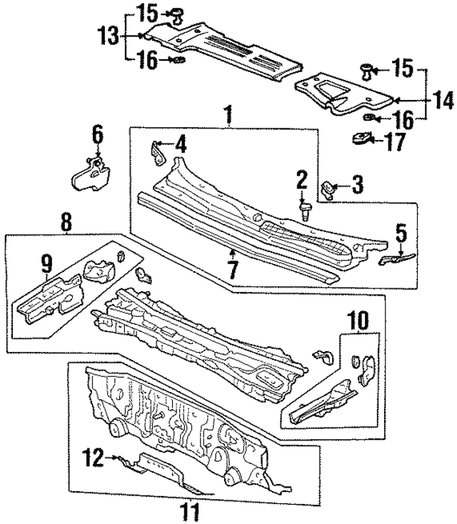 Cover, R Strut Bar - Acura (74181-SS8-A00)