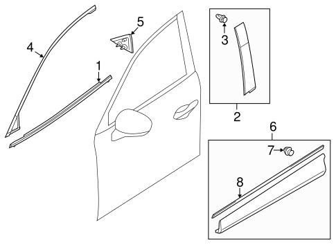 Genuine OEM Exterior Trim - Front Door Parts For 2015 Mazda
