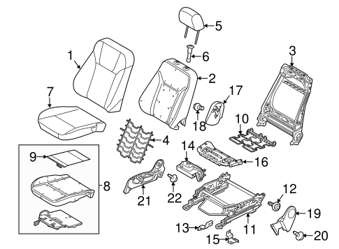Passenger Seat Components For 2011 Ford Fiesta