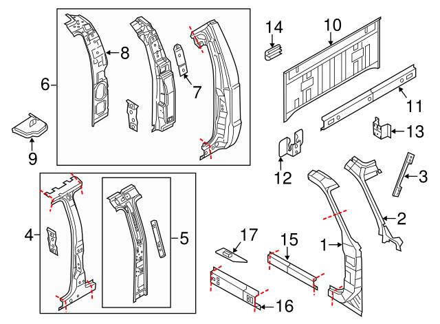 FORD OEM BACK PANEL-CAB-Inner Reinforcement Bracket YC3Z68613G04AB