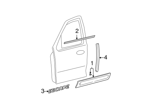 Body/Exterior Trim - Front Door for 2006 Ford Escape #1