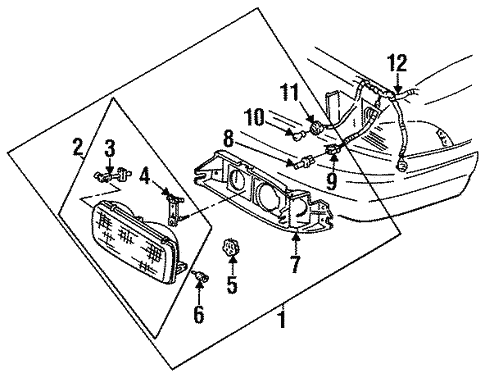 Headlamp Components For 1996 Chevrolet Impala