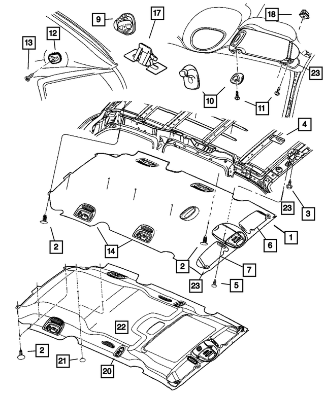 2001-2003 Mopar Headliner WJ96-TL2AA | MOPAR Parts On SaleMOPAR Parts On Sale
