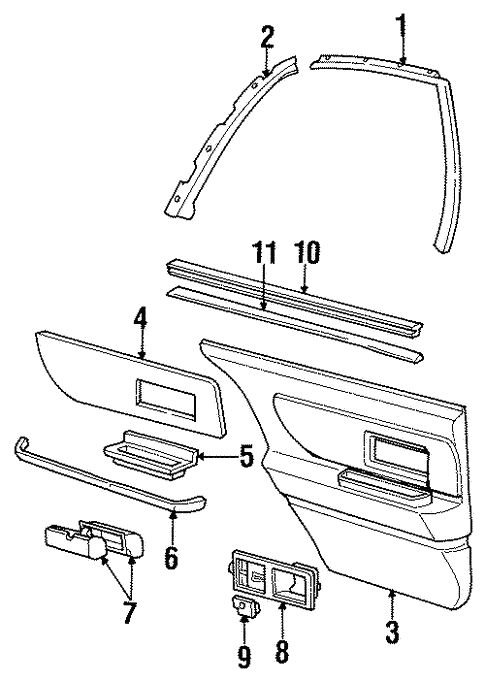 Interior Trim - Rear Door for 1998 Oldsmobile 88 #0